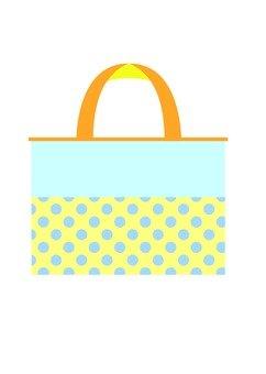 Tote bag (blue polka dots)