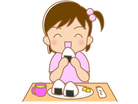 A girl who eats onigiri