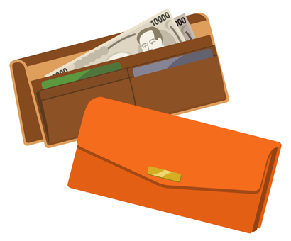 Two long wallets (orange and brown