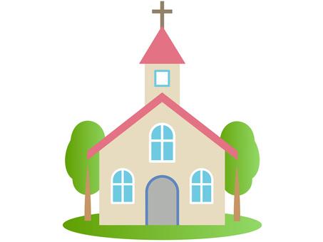 60129. Church, pink, tree