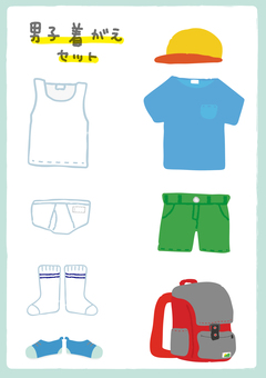 Boy clothes illustration set, spring and summer version