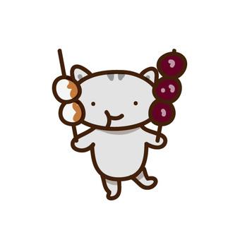 Illustration of cats eating dumplings