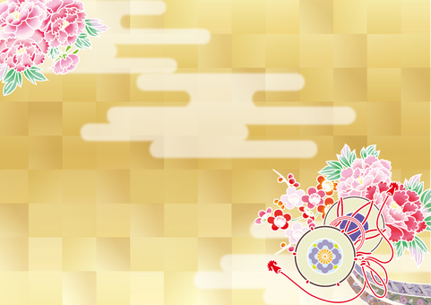 Drum and peon ___ kimono transverse plate _ gold leaf color clouds right