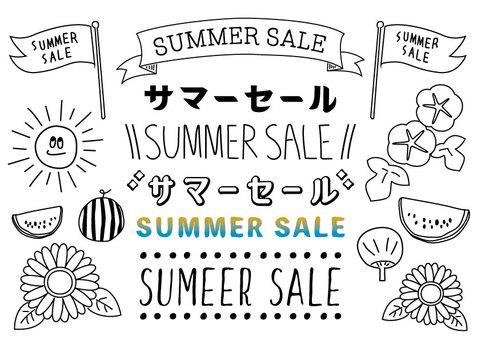 Summer sale handwritten style letters illustration set