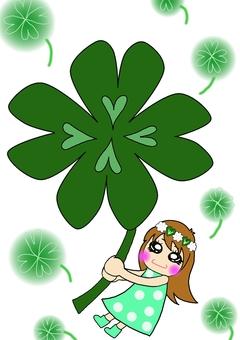 Four leaf clover and girl