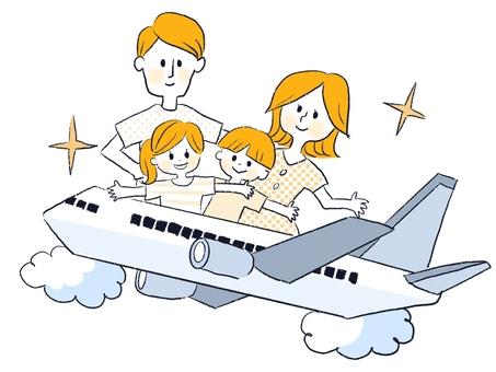 飛行機で家族旅行するパパとママと子供