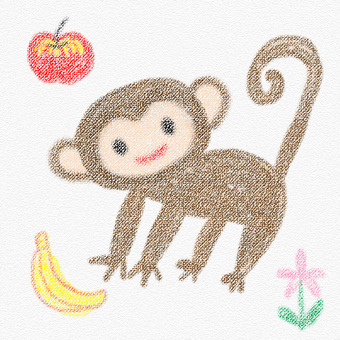 Monkeys drawn with crayons