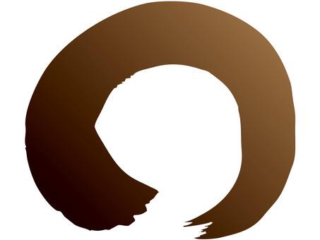 Brush line (circle / brown → black ink)