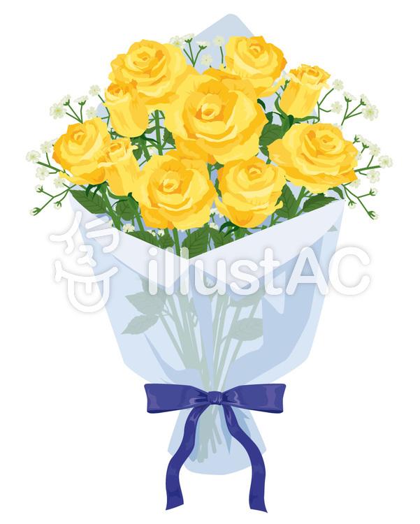 黄色いバラの花束イラスト No 422831無料イラストならイラストac