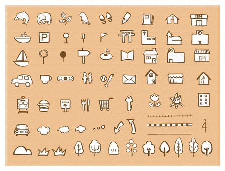 Hand-drawn map icon set brown wire white background