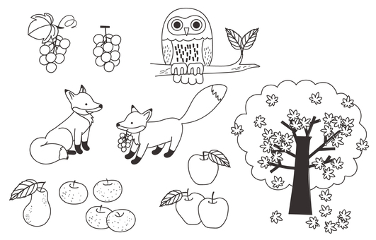 Fall illustration various -2 (line drawing)