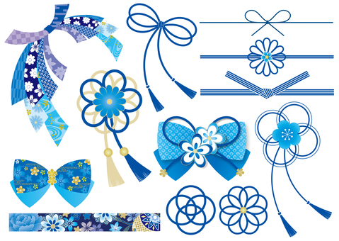 Japanese style ribbon Various blue
