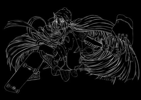 Maki Kashima, skatebo 4 (line drawing)