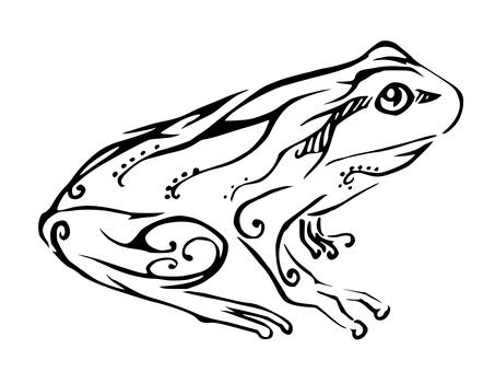 흑백 아트 부족 개구리