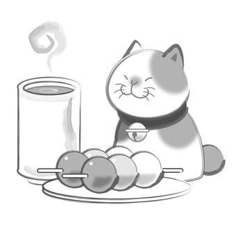 Sumi cats - tea and dumplings