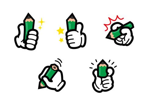 圖標手套鉛筆手指手學習
