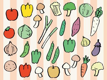 Illustration of vegetables and fruits