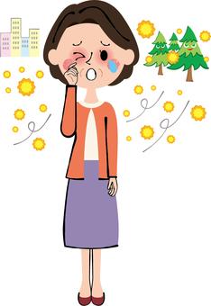 花粉症目がかゆい婦人中年女性薬局病院全身