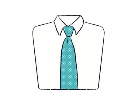 白いワイシャツに青い水玉模様のネクタイ