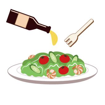 Dressing vegetable salad