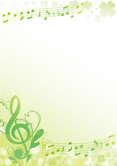 Fresh green clover spring music frame