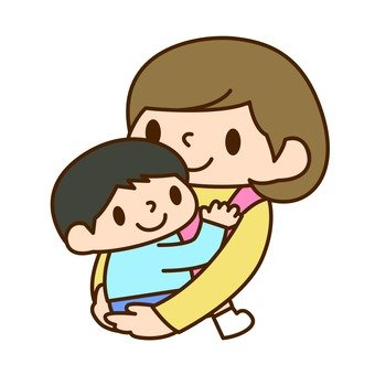 Holding and holding a mother and a boy 1