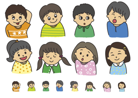 Children's Kids expression various color set