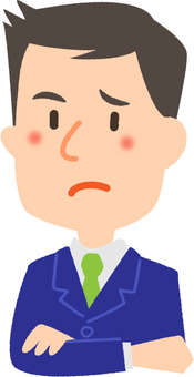 A salaryman with a troubled face
