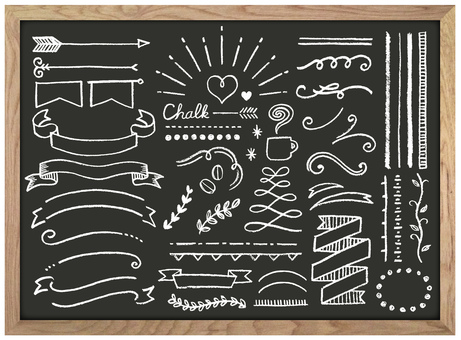 Chalk art and blackboard