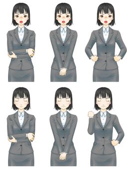 Standing picture pose set (suit female) - get angry
