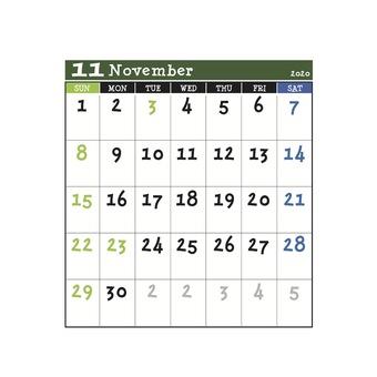 2020 Calendar Green November