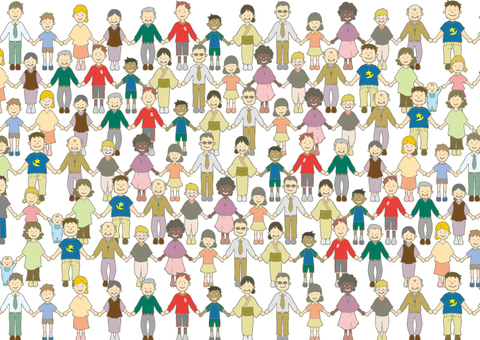 Illustration of people holding hands