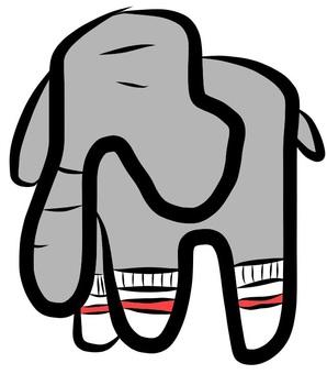 An elephant wearing a sock