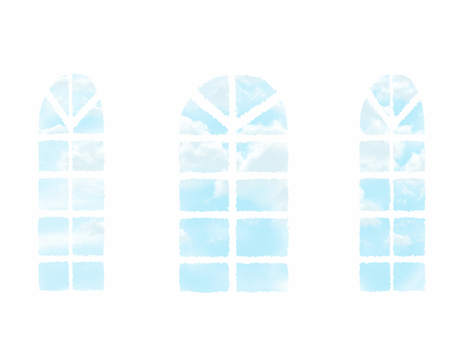 The blue sky through the window