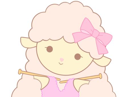編み物をするピンクのひつじちゃん
