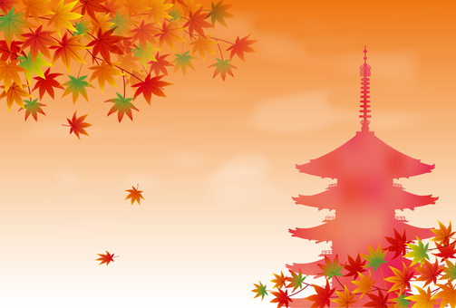 Five-storied pagoda and autumn leaves