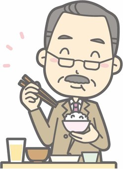 Middle age beard a - delicious Japanese food - bust