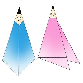 Orihime and Hikoshi origami style illustrations