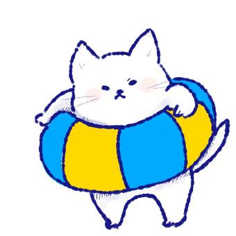 Rice cake like white cat _ floating wheel