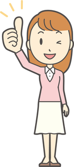 Pink Girl Long Hair-049-Whole Body