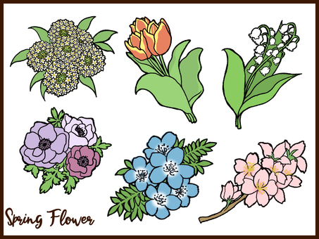 Spring flower set line and fill