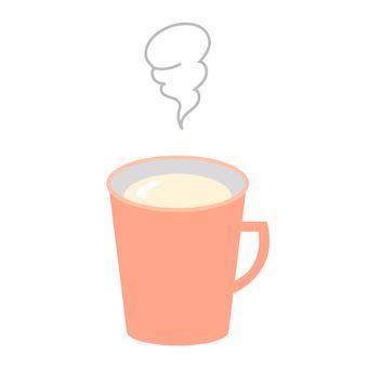 머그컵에 담긴 뜨거운 우유
