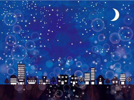街並み夜景キラキラビル群家夜空星三日月絵