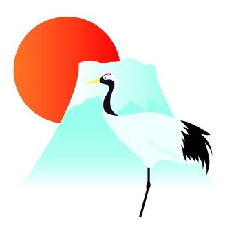 Sunrise and Mt. Fuji and cranes