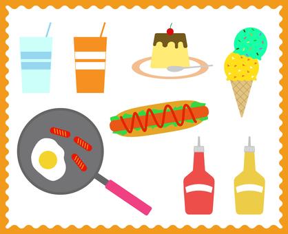 Pop fast food illustration set