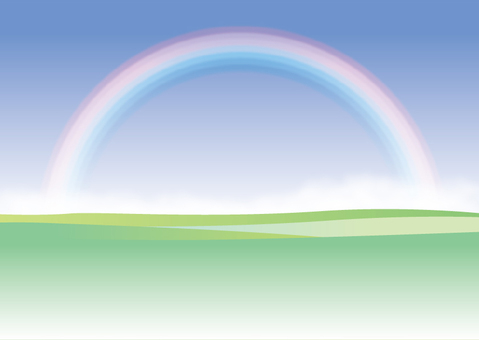Beautiful rainbow and meadow background frame