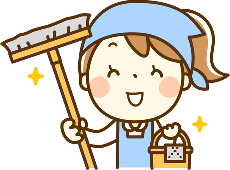 Girl playing part time job - cleaning up