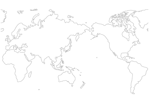 World map white map drawing