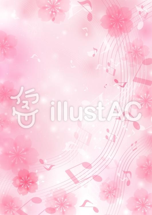 桜と音符のイラスト