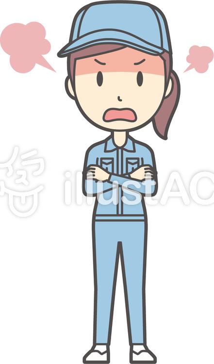 作業員女性ブルー-180-全身のイラスト